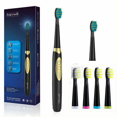 Fairywill Electric Toothbrush 3 Modes Battery Powered IPX7 6 More W-shape Brush