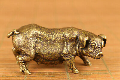 lovely Chinese old bronze hand casting pig statue netsuke figure home deco