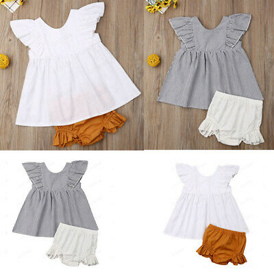 Newborn Infant Baby Girl Summer Cotton Ruffle Tops +Shorts Briefs Outfits Set