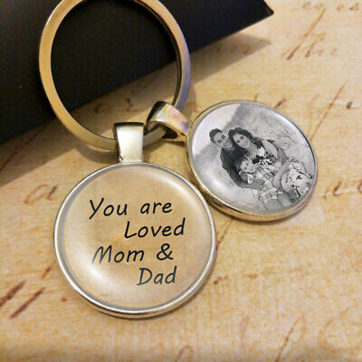Personalized Custom Photo Keyring Gifts Mum Mom Dad Fathers Day Loved Parents