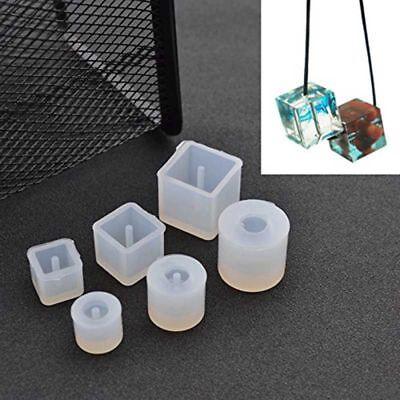 1X(6Pcs Round Square Silicone Mold Mould Casting Resin for Jewelry Pendant U1I1