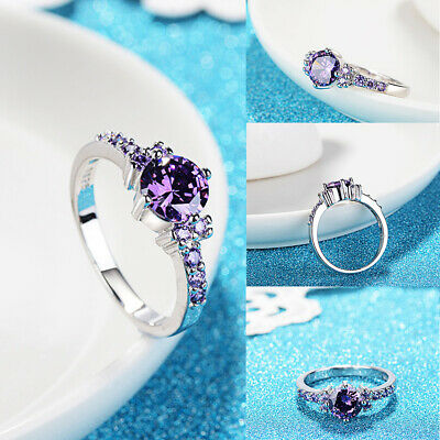 White Gold Round Cut Purple Amethyst Gem Finger Rings Wedding Ring Size 6-10