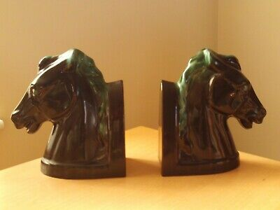 Vintage Pair Of Canadian Blue Mountain Pottery Horse Head Bookends.