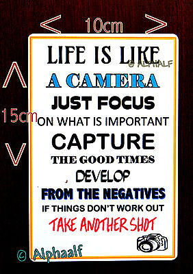 LIFE IS LIKE A CAMERA Sign or Large Fridge Magnet Ali Metal, Christmas BDay gift