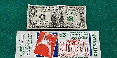 TED NUGENT 1984 UNUSED TICKET  Spain  FREE SHIPPING WORLDWIDE WITH TRACKING