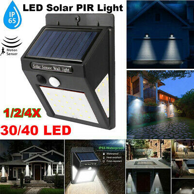 4X 40LED Solar Powered PIR Motion Sensor Wall Security Light Garden Outdoor Lamp