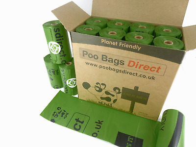 PooBagsDirect Dog Poo Bags On A Roll Green Large 240 Bags 16 Rolls with 15 Poo