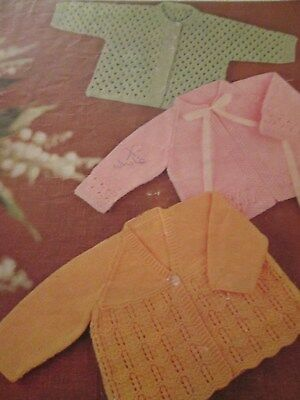 vintage knitting pattern babys Matinee Coats  DK size 18-22