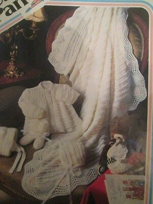 Knitting Pattern Babys Layette, Shawl, Matinee coat, Helmet, bootees 4 Ply