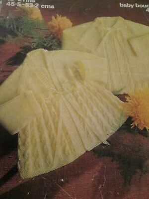vintage knitting pattern babys Matinee Coats  4 Ply size 18-22