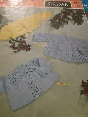 vintage knitting pattern 3 babys Matinee Coats DK Size 3/6 Months