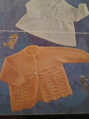 vintage knitting pattern babys Matinee Coats  4 Ply size 18-20