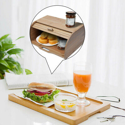 Modern Health Natural Wooden Roll Top Bread Box Kitchen Food Storage (Bamboo) US