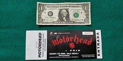 MOTORHEAD LEMMY UNUSED TICKET  Spain FREE SHIPPING WORLDWIDE WITH TRACKING