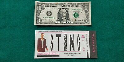 STING  1985 Police UNUSED TICKET  Spain FREE SHIPPING WORLDWIDE WITH TRACKING