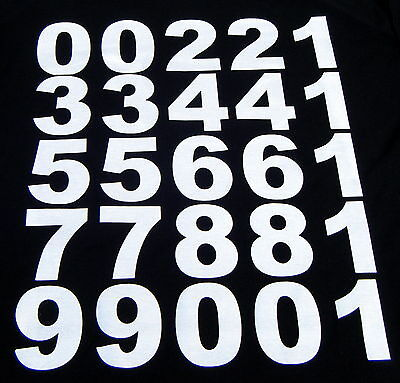 iron on BIG BOLD 70mm.NUMBERS- in white for material,fabric. t-shirts etc.etc