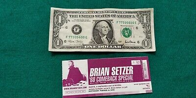BRIAN SETZER Stay Cats  UNUSED TICKET  Spain FREE SHIPPING WORLDWIDE TRACKING