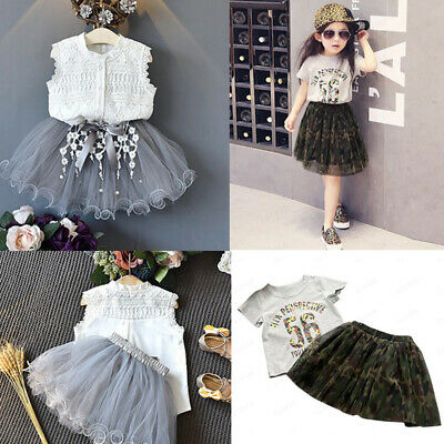 Toddler Kids Baby Girls Outfits Print T-shirt+Camouflage Tulle Skirt 2PCS Set