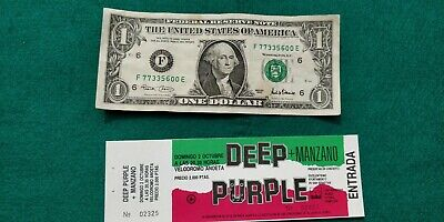 DEEP PURPLE 1989  MANZANO UNUSED TICKET Spain FREE SHIPPING WORLDWIDE  TRACKING
