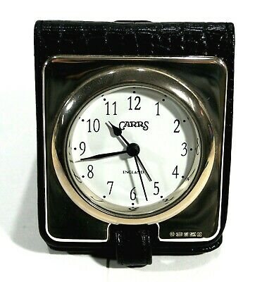 Vintage CARRS England Sterling Silver Travel Alarm Clock Alligator Case