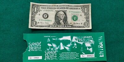NAPAL DEATH  UNUSED TICKET Spain FREE SHIPPING WORLDWIDE WITH TRACKING