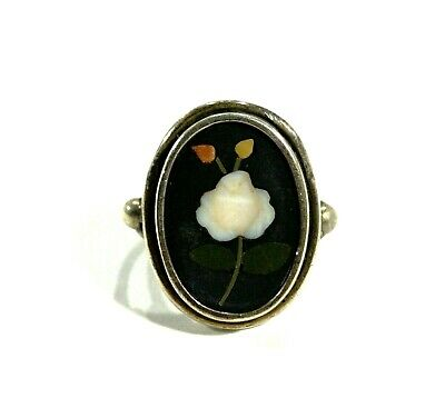 Rare Antique Pietra Dura Coin Silver Ring