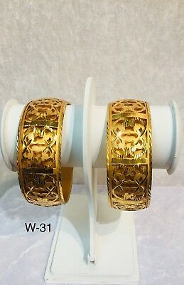 Gold Plated Indian Bangles Light Weight Pack Of 2 Bangles Kangan Kada Women wide