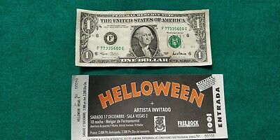 HELLOWEEN  UNUSED TICKET Spain FREE SHIPPING WORLDWIDE WITH TRACKING