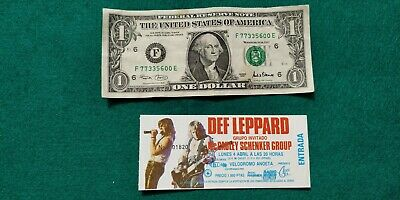 DEF LEPPARD Hysteria Tour  UNUSED TICKET Spain FREE SHIPPING WORLDWIDE TRACKING