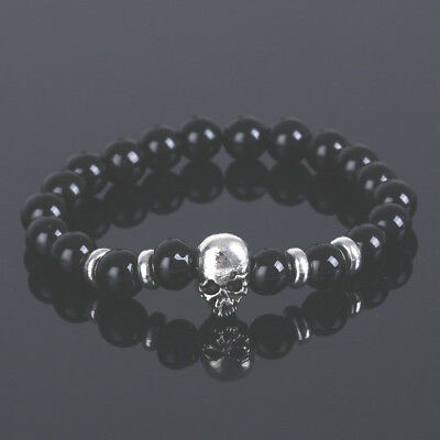 Beaded Black & Silver Skull Charm Bracelet - Halloween Day of the Dead Goth Punk