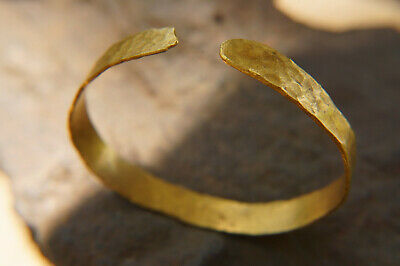 Fine Solid 24K 995 Gold Hammered Bracelet Ancient Rome Artisan Sizeable Bracelet