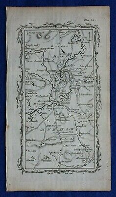 Rare antique road map, COUNTY DURHAM, DURHAM, RIVER WEAR, Mostyn Armstrong, 1776