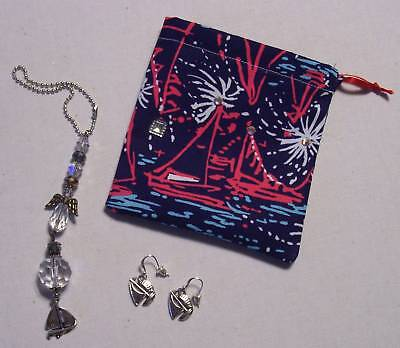 Tri Sigma*Suncatcher*Earrings*Angel*Sailboat*Natucial**Lilly Pulitzer Fabric Bag