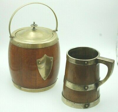 Oak And Silver Plated Biscuit Barrel & Tankard