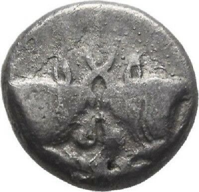 RARE Ancient Greece 5 Cent.BC CARIA Silver HEMIDRACHM BULLS