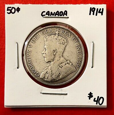 1914 Canada 50 Cent Coin Fifty Silver Half Dollar - $40 Circulated