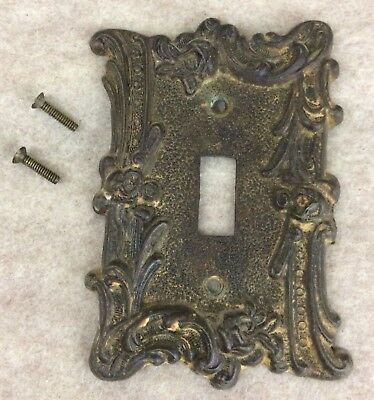 Vintage 60s American Tack & Hdwe Metal Light Switch Plate Roses Architectural