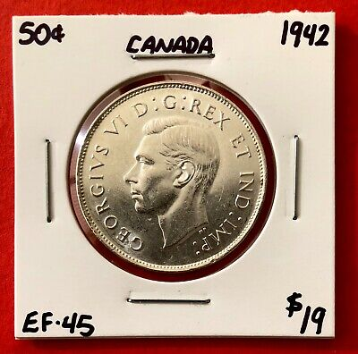 1942 Canada 50 Cent Coin Fifty Silver Half Dollar - $19 EF-45