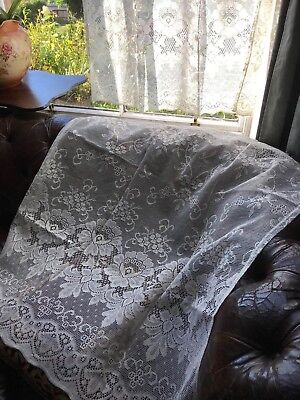 """Laura Ashley Victorian style cotton lace curtain panel 36""""by 36"""" Victorianna"""