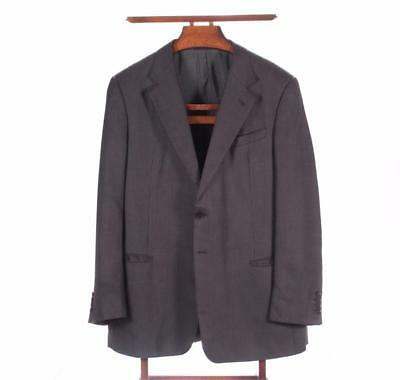ARMANI Collezioni Gray Textured Houndstooth Silk Wool Dual Vent Jacket 46L Italy