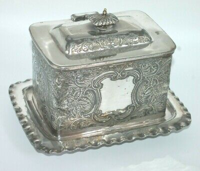 Antique Victorian Silver Plated Biscuit Box / Caddy