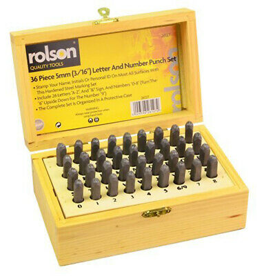 Rolson 36pc Letter & Number Stamp Set Punch 5mm x 3mm Hardened Tempered w Case