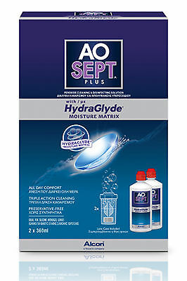 AOSept Plus with Hydraglyde Alcon inc. Case Contact Lens Solution AO Sept NEW