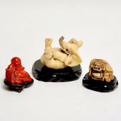 Group Of (3) Small Vintage Chinese Carved Figures, Elephant & Buddhas
