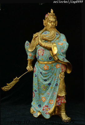 China Bronze Cloisonne Guan Gong Guan Yu Wu Sheng General Loyalty Wealth Statue