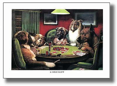 Dogs Playing Poker #4 A Bold Bluff By Cassius Coolidge Wall Art Print Picture