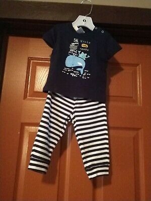 Gymboree Boys Navy blue outlet whale Outfit size 6-12 Months NWT