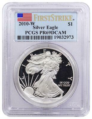 2010-W $1 Silver Eagle PCGS PR69DCAM Deep Cameo First Strike FLAG LABEL Certifie