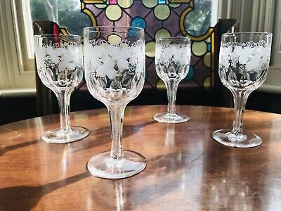 Stunning Quality 4 Large Hollow Stemmed Grape Vine Etched Wine Glasses