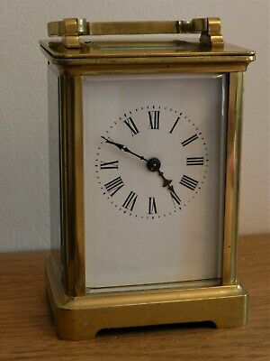 French Brass Case carriage Clock Working order with wooden travel case